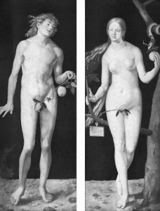 Knowing good and evil: Adam and Eve (Albrecht Dürer, 1507)