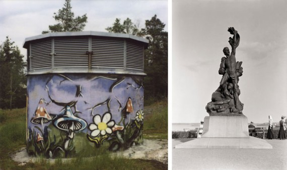 Monuments of different times: I.K. Inha's Haaksirikkoiset, 'The shipwrecked' (by Robert Stigell) on Tähtitorninmäki ('Observatory Hill') in 1908, and a sample of street art a hundred years later in Martti Jämsä's Polaroid