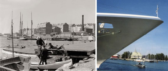 A city by the sea: a harbour view in a Polaroid by Jämsä, and Inha's photograph of marine Helsinki (entitled Merisatama, 'Sea Harbour') a century earlier