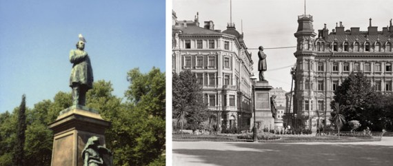 Forever the national poet: two versions of J.L. Runeberg's statue (1885) in the Esplanade Park (the Polaroid by Martti Jämsä, the view of Hotel Kämp and the Grönqvist house by I.K. Inha in 1908)