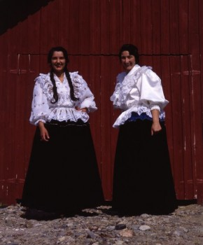 In Romani dress: the photo (by Topi Ikäläinen) is from 1983, and Finnish Romani women still wear their velvet skirts (which weigh 5-8 kilos)