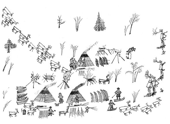 Life in Lapland, Drawing by Johan Turi (1854–1936). Picture from Luonnossa