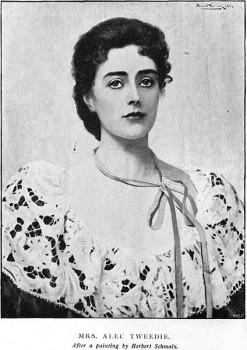Ethel Brilliana Tweedie aka Mrs Alec Tweedie. Picture: after a painting by Herbert Schmaltz, Wikipedia