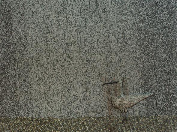Curlew in rain', bas-relief (200x150cm, ca. 1970). Collection Kakkonen, photo: Niclas Warius