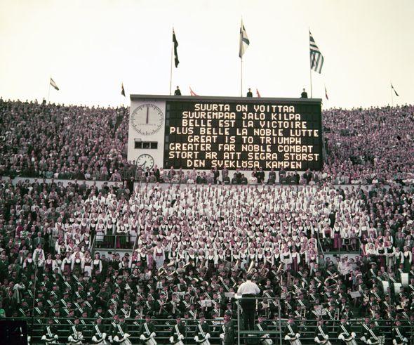 Noble combat: the final ceremony of the 1952 Olympics at Helsinki's Stadium. Photo: Olympia-Kuva, 1952