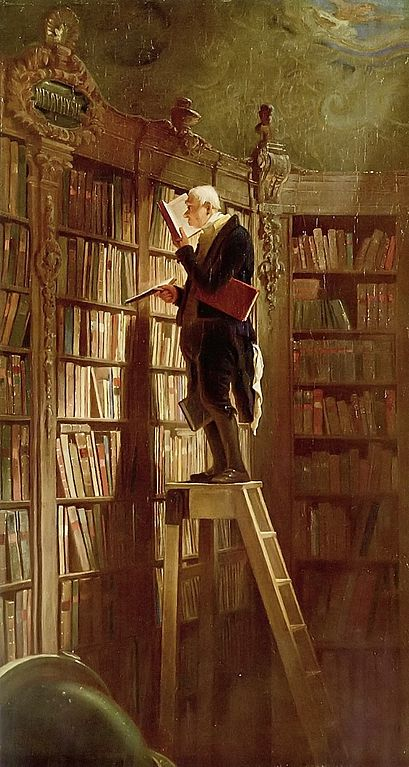 'The bookworm' (old-fashioned) by Carl Spitzweg, ca. 1850. Museum Georg Schäfer. Photo: Wikimedia