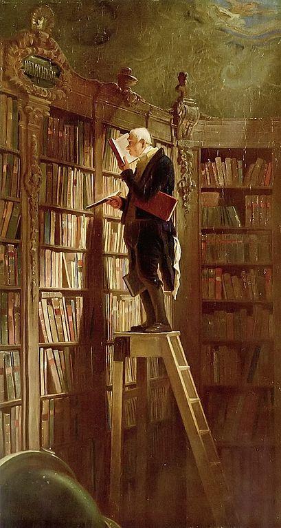 'The bookworm' (old-fashioned) by Carl Spitzweg, ca. 1850. Museum Georg Schäfer. Photo: Wikimedia