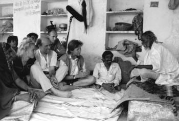 The film grew meets the guru: from right, the guru, Jamana Lal, Pirjo Honkasalo