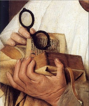 Time to read? Detail from Madonna with Canon van der Paele by Jan van Eyck (1439, The Groeninge Museum, Brugge). Wikipedia
