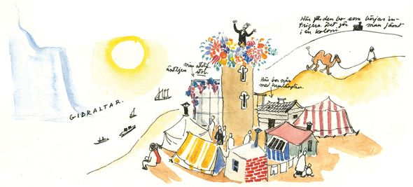 Paradise: Tove Jansson and Atos Wirtanen planned to set up an artists' colony in Morocco: in this illustration, Jansson has placed Wirtanen in the hanging garden on top of the tower, her studio is on the left. The dream never came true