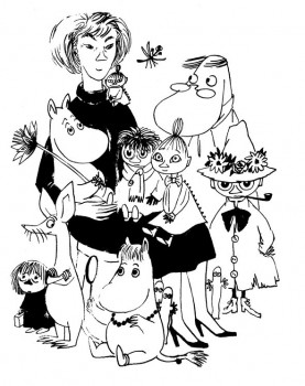 Self-portrait: Tove Jansson with her creations. Picture: @Moomin Characters